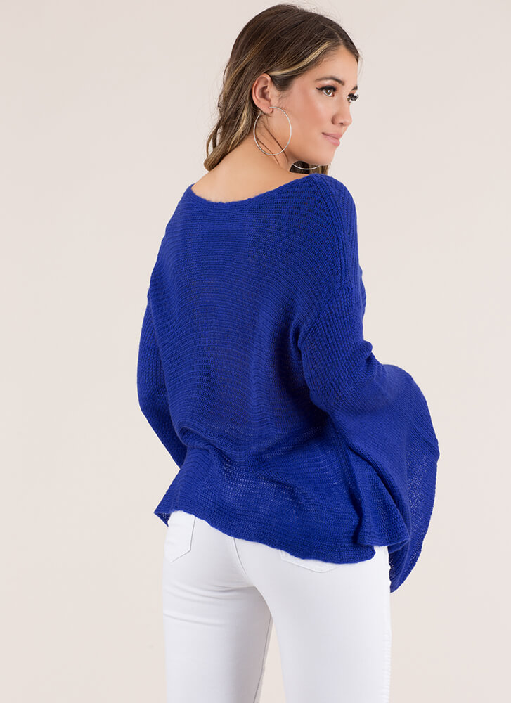 Wing Woman Flared Sleeve Sweater ROYAL