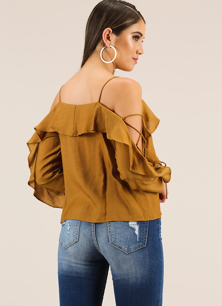 Laced With Ruffles Cold-Shoulder Top CAMEL