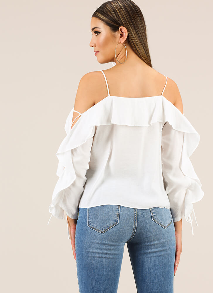 Laced With Ruffles Cold-Shoulder Top WHITE