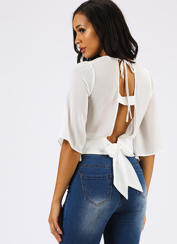 Floating On Air Tie-Back Blouse WHITE