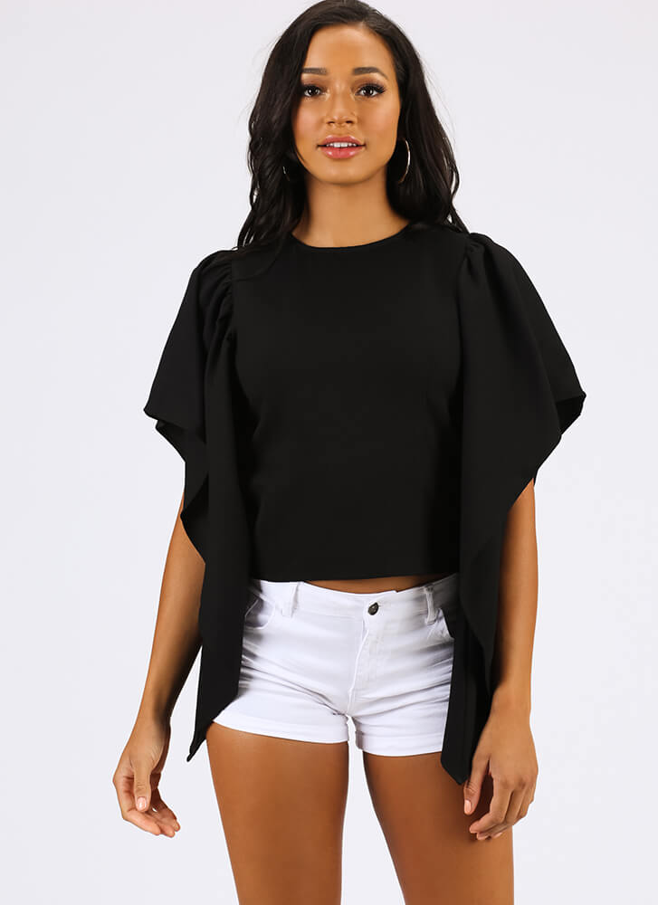 Come Fly With Me Wing-Sleeve Top BLACK