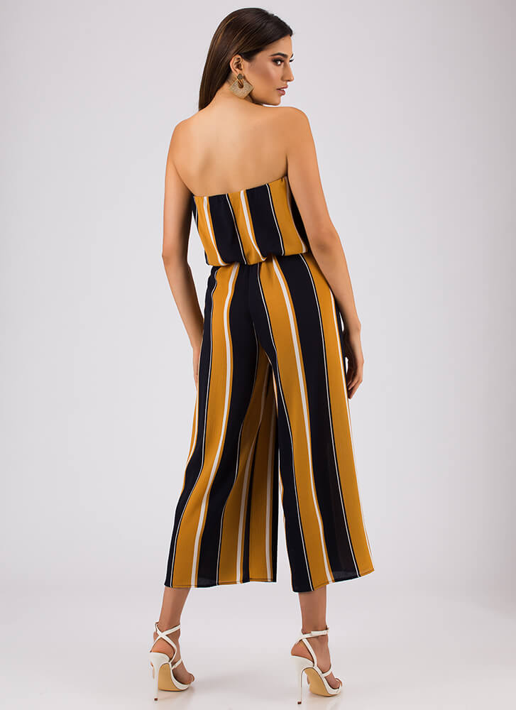 Stunning In Stripes Strapless Jumpsuit MUSTARD