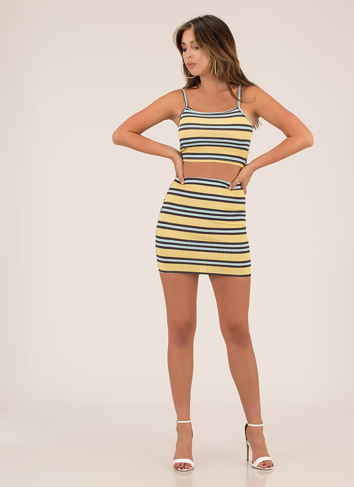 Away We Go Striped Top And Skirt Set MUSTARD