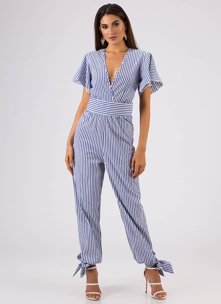 Bow On Vacation Tied Striped Jumpsuit BLUE