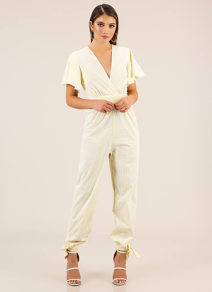 Bow On Vacation Tied Striped Jumpsuit YELLOW