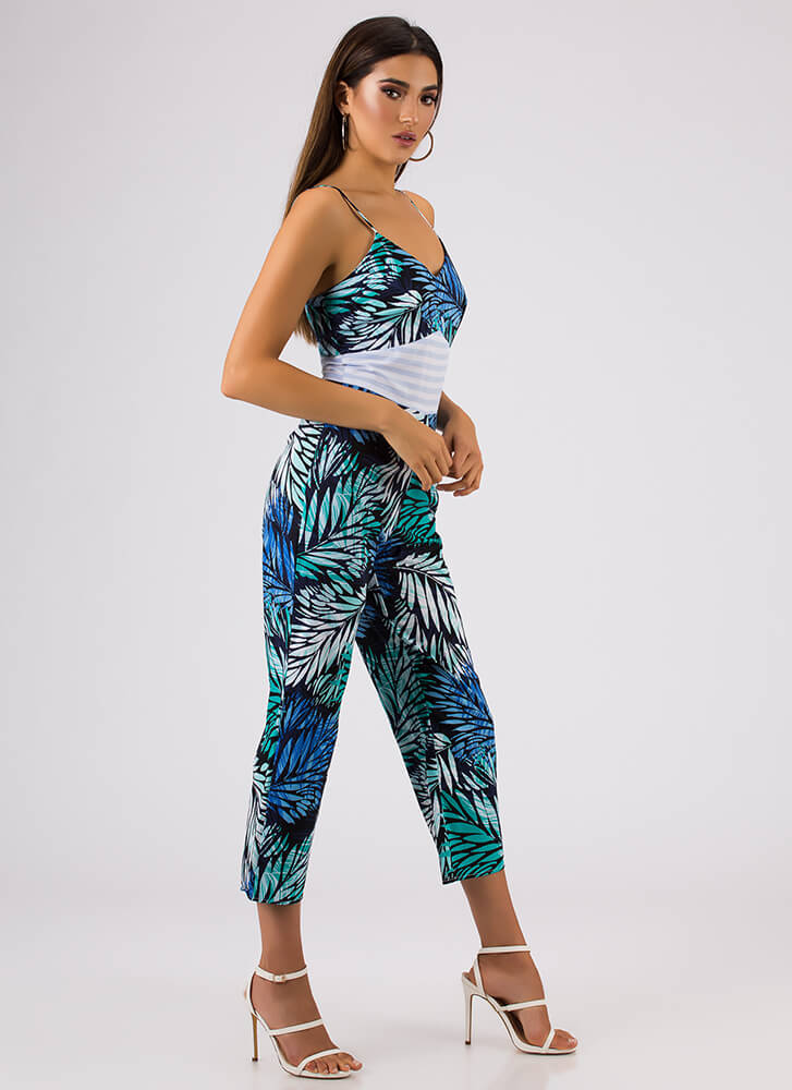 Turn Over A New Leaf Tropical Jumpsuit BLUE