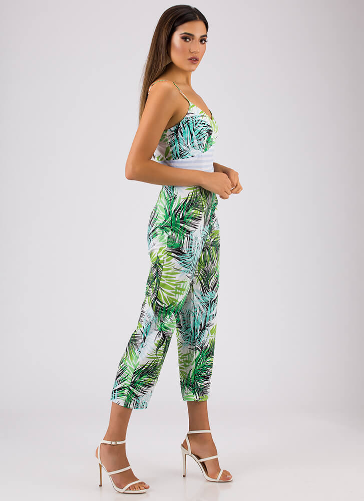 Turn Over A New Leaf Tropical Jumpsuit GREEN