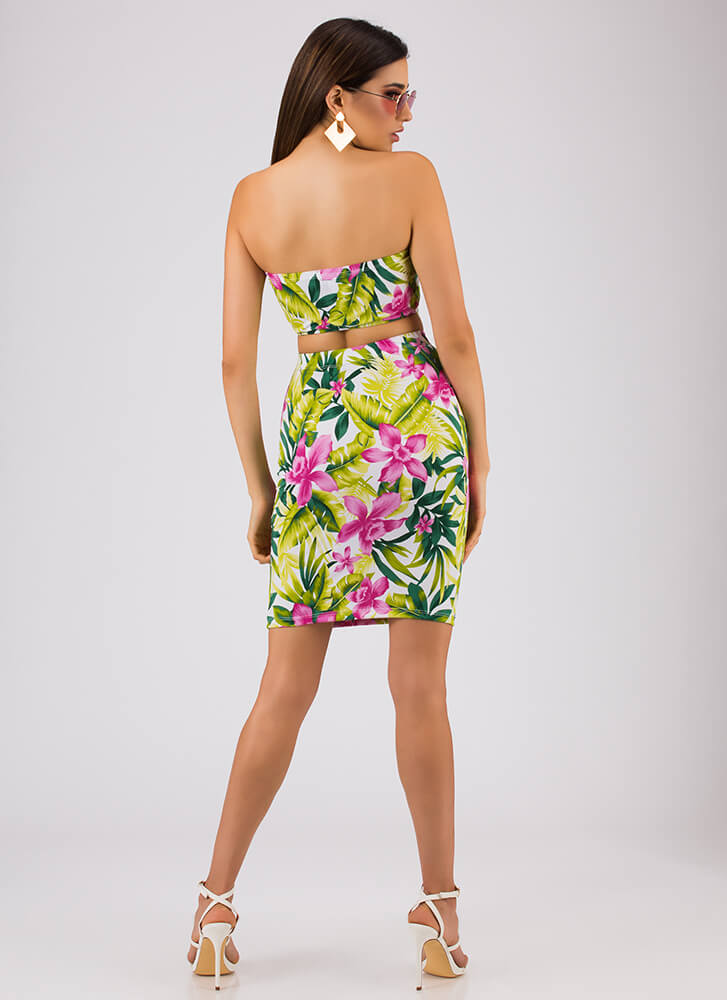 Tropical Climate Strapless 2-Piece Dress WHITE