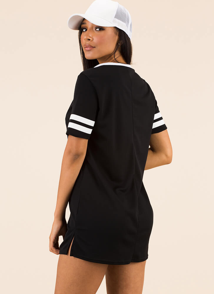 Girl Gang Striped Jersey Shirt Dress BLACK