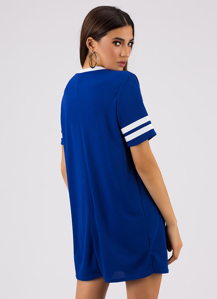 Girl Gang Striped Jersey Shirt Dress ROYAL