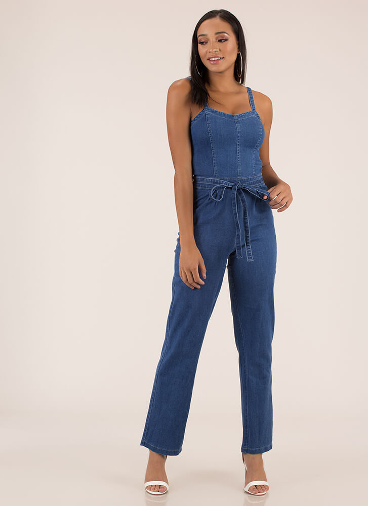 Cute And Casual Tied Denim Jumpsuit BLUE (You Saved $32)