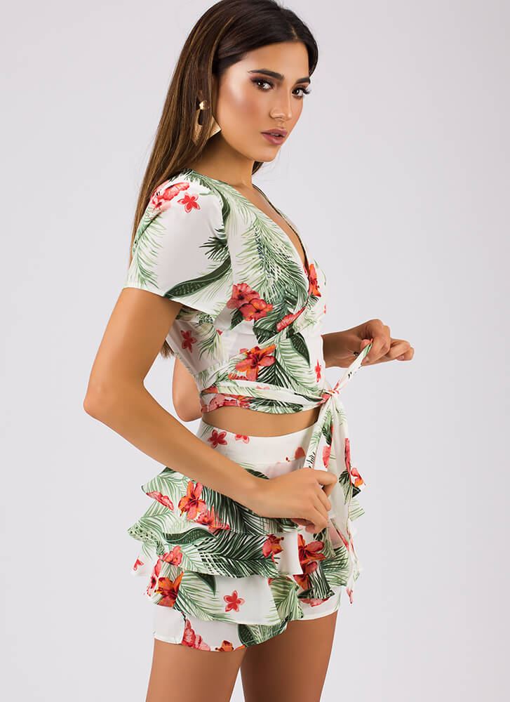 My Paradise Tropical Top And Shorts Set WHITE