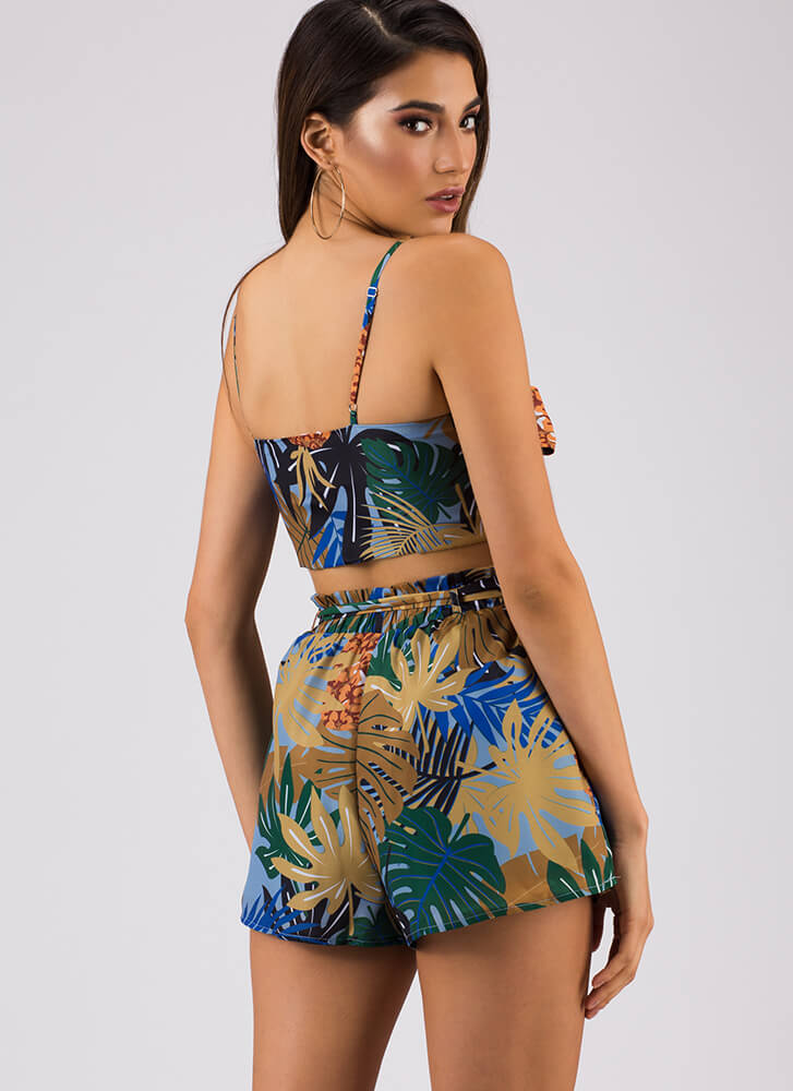 My Jungle Tropical Top And Shorts Set BLUE