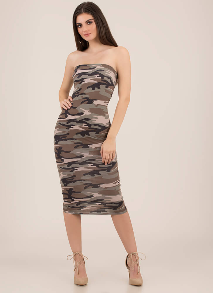 Keep It Camo Strapless Midi Dress OLIVE