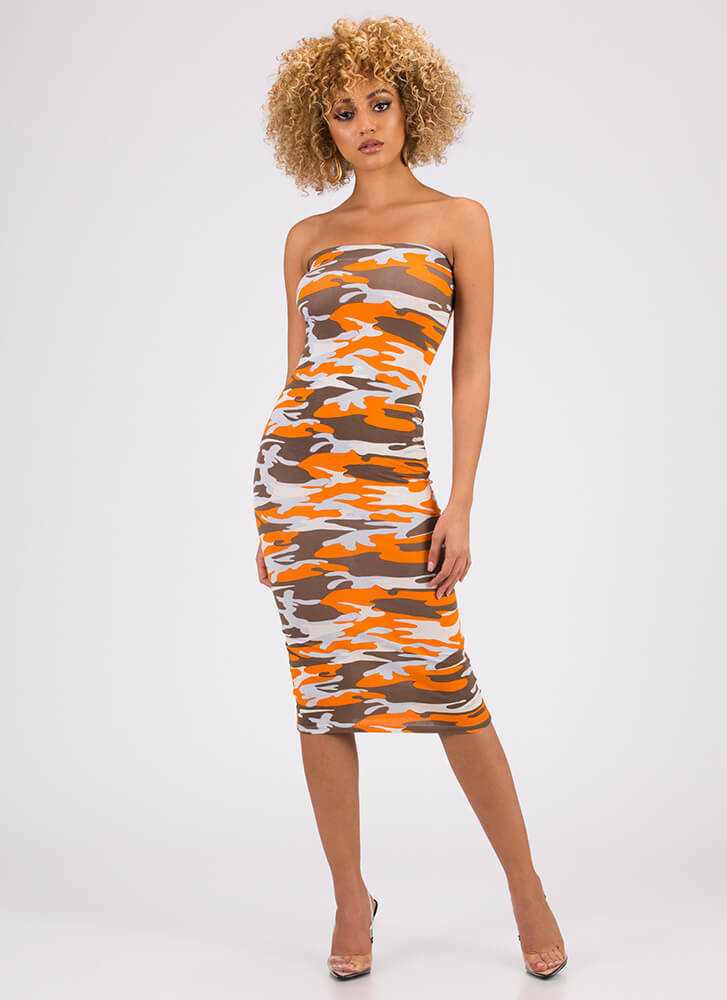 Keep It Camo Strapless Midi Dress ORANGE