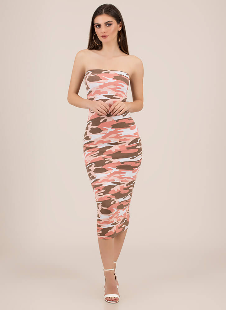 Keep It Camo Strapless Midi Dress PINK