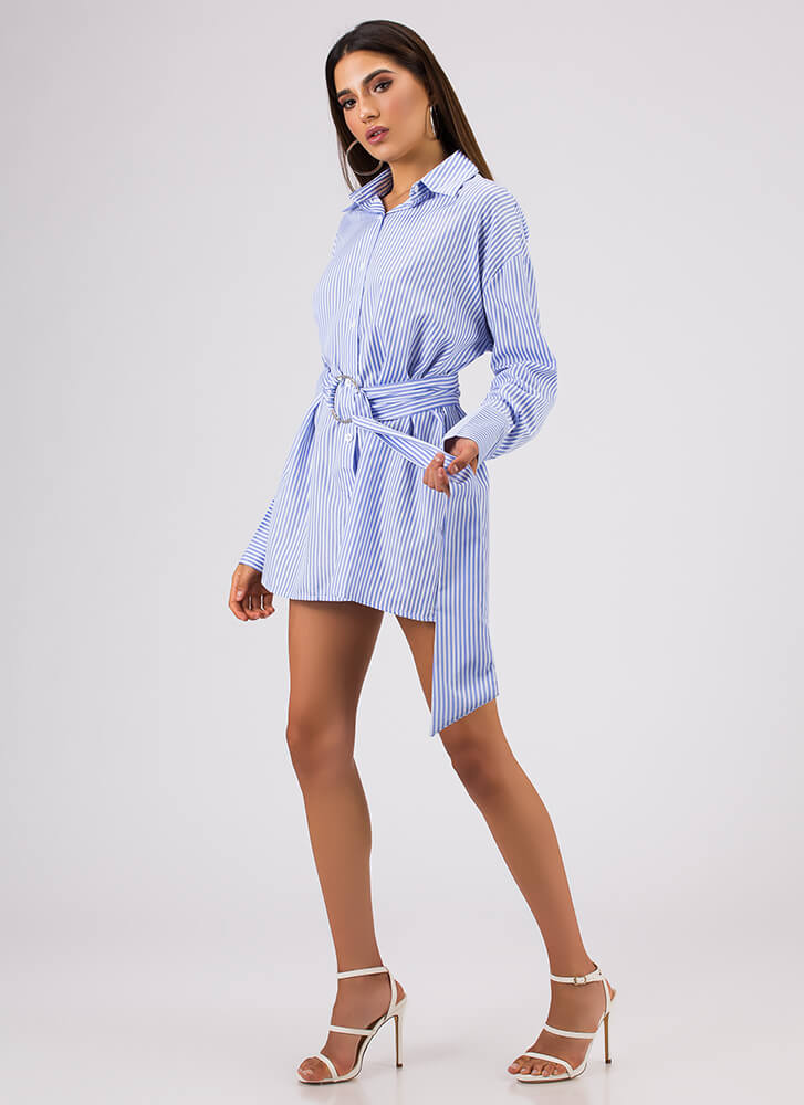 On My Own Belted Pinstriped Blouse LTBLUE