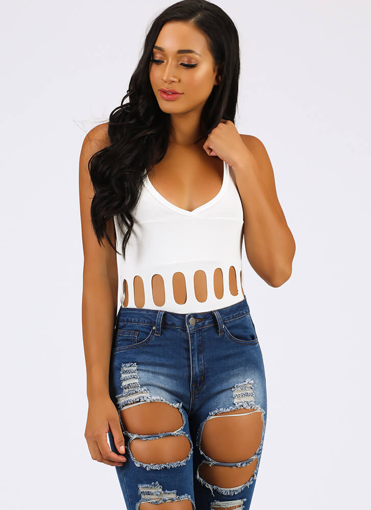I Need To Vent Cut-Out Caged Bodysuit WHITE