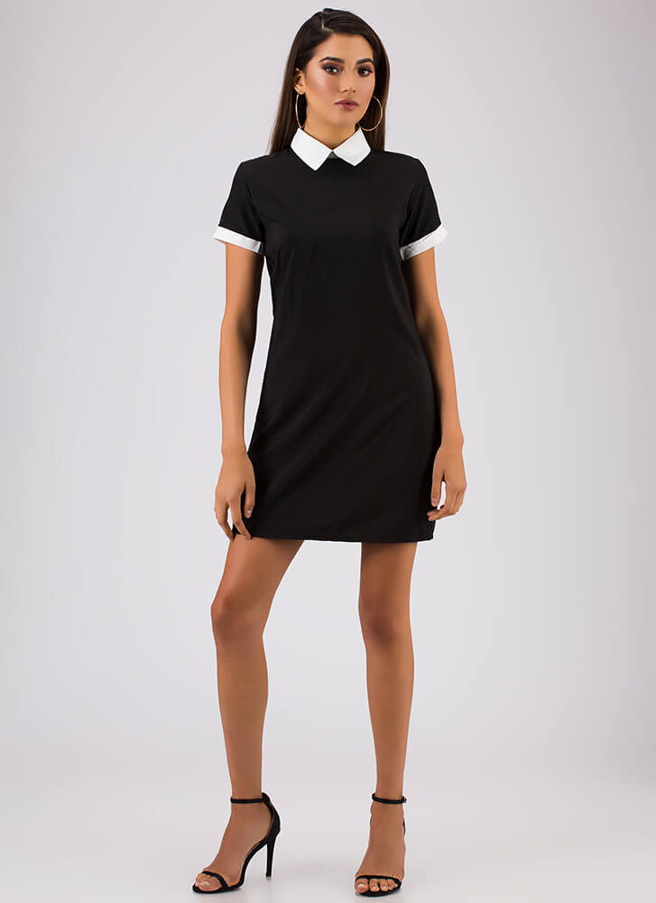Is It Wednesday Yet Collared Dress BLACK