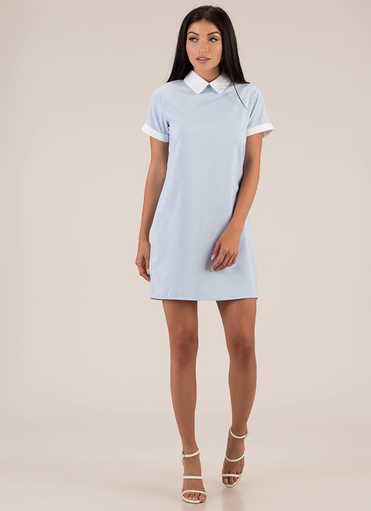Is It Wednesday Yet Collared Dress BLUE