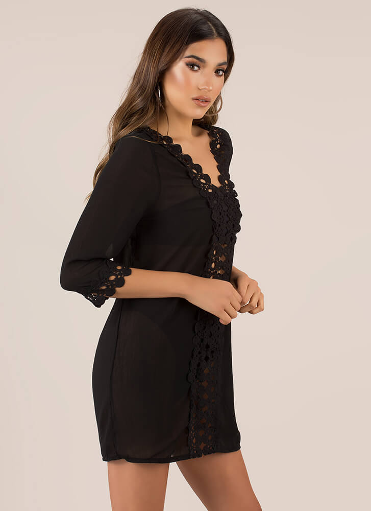 Summer Soiree Cut-Out Crochet Tunic BLACK