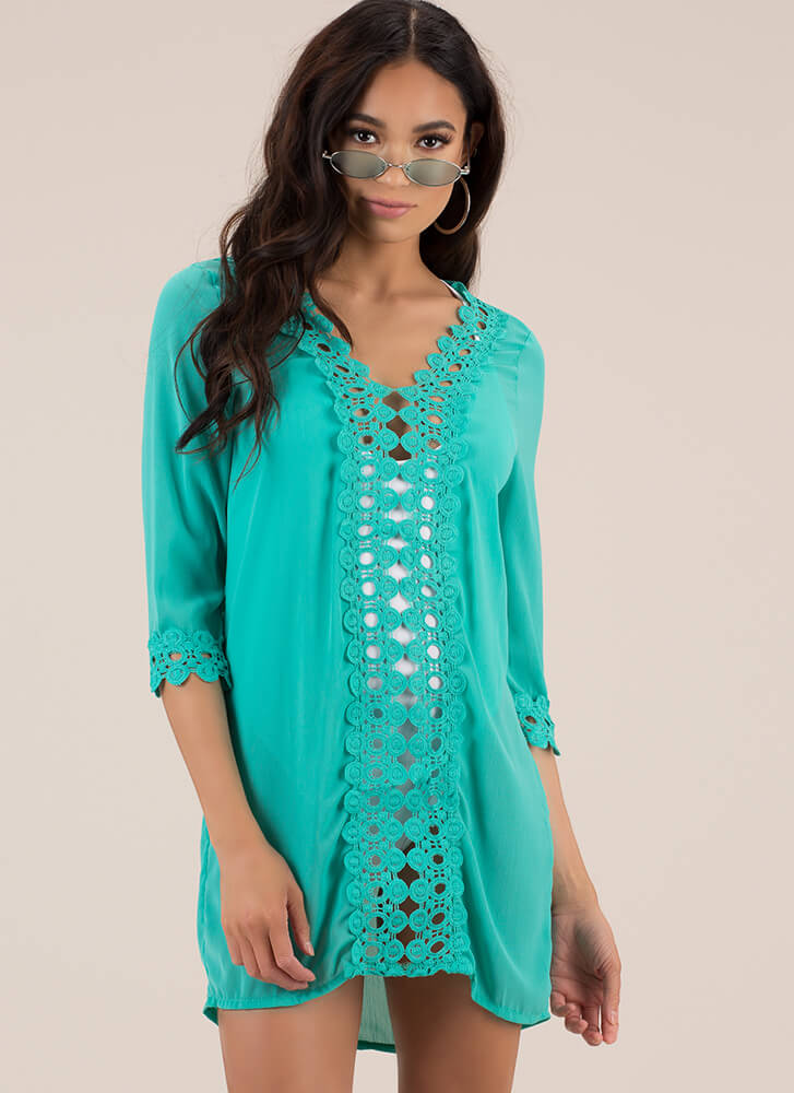 Summer Soiree Cut-Out Crochet Tunic JADE