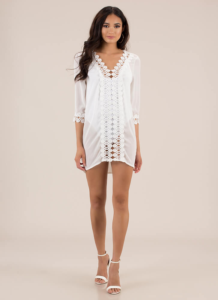 Summer Soiree Cut-Out Crochet Tunic WHITE