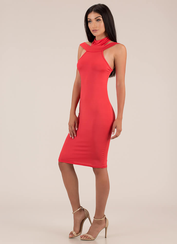 Necks Level Cut-Out Midi Dress RED