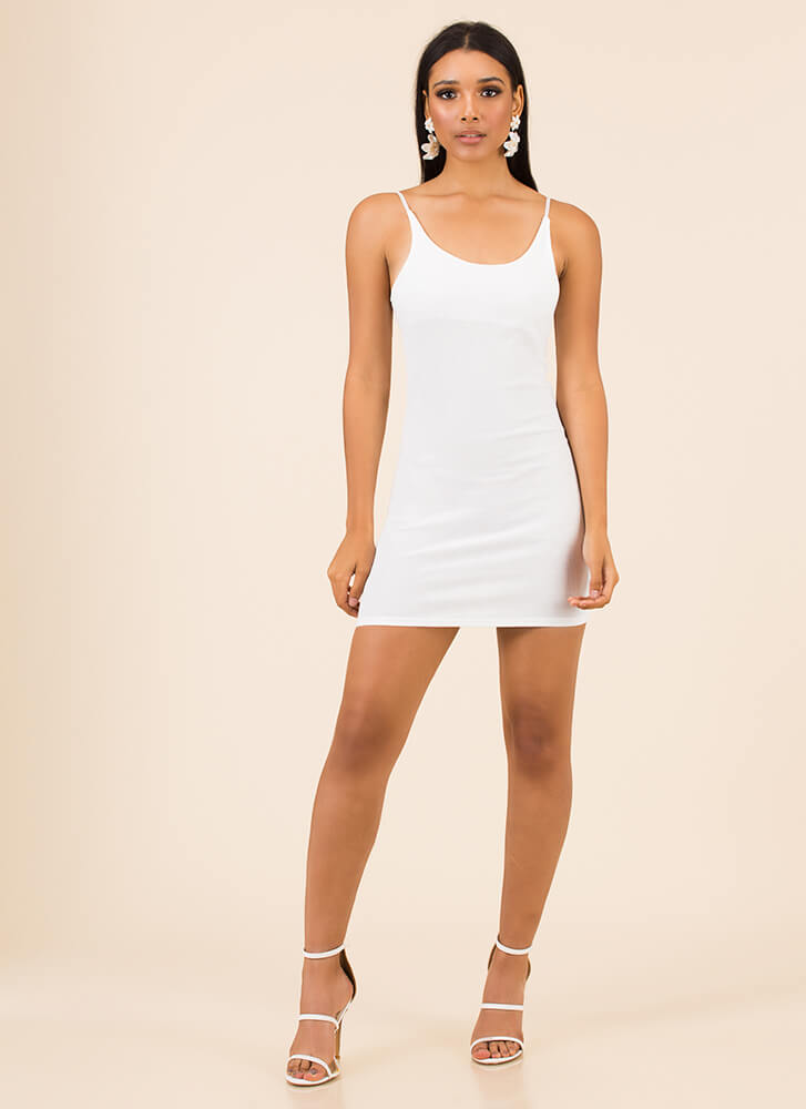 One Short Day Rib Knit Minidress WHITE
