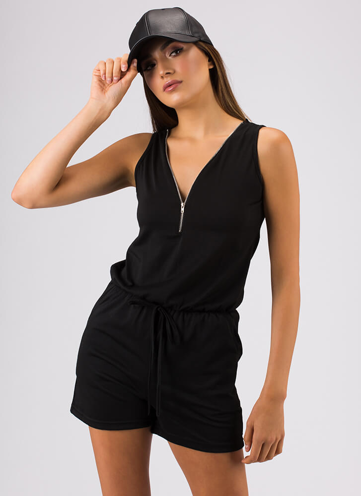 Casual Relationship Zip-Front Romper BLACK