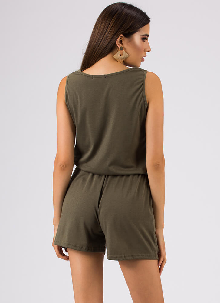 Casual Relationship Zip-Front Romper OLIVE