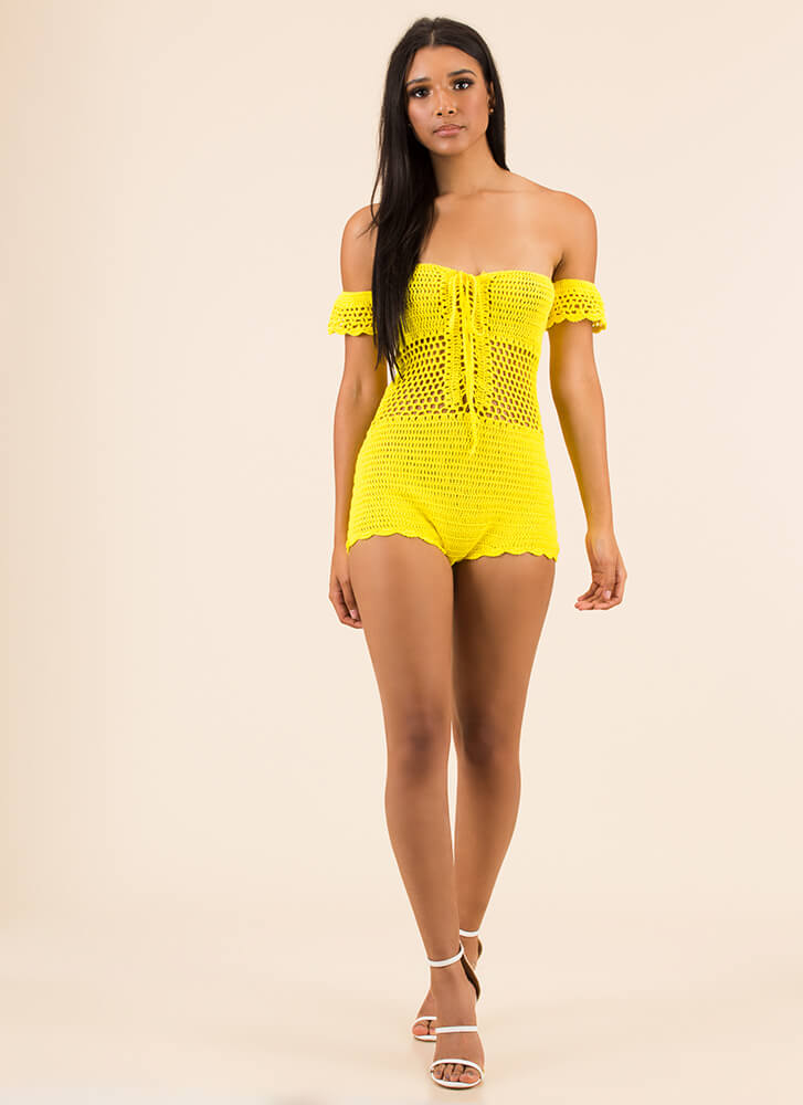 Greatest Knits Off-Shoulder Romper YELLOW