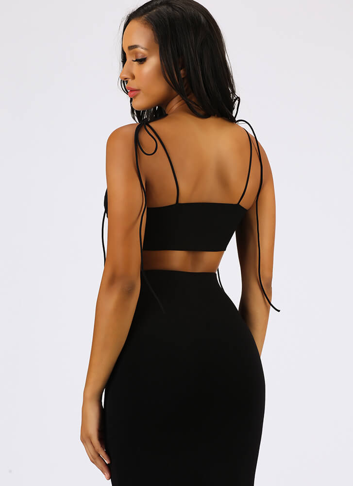 On The Knotty List Tied Crop Top BLACK
