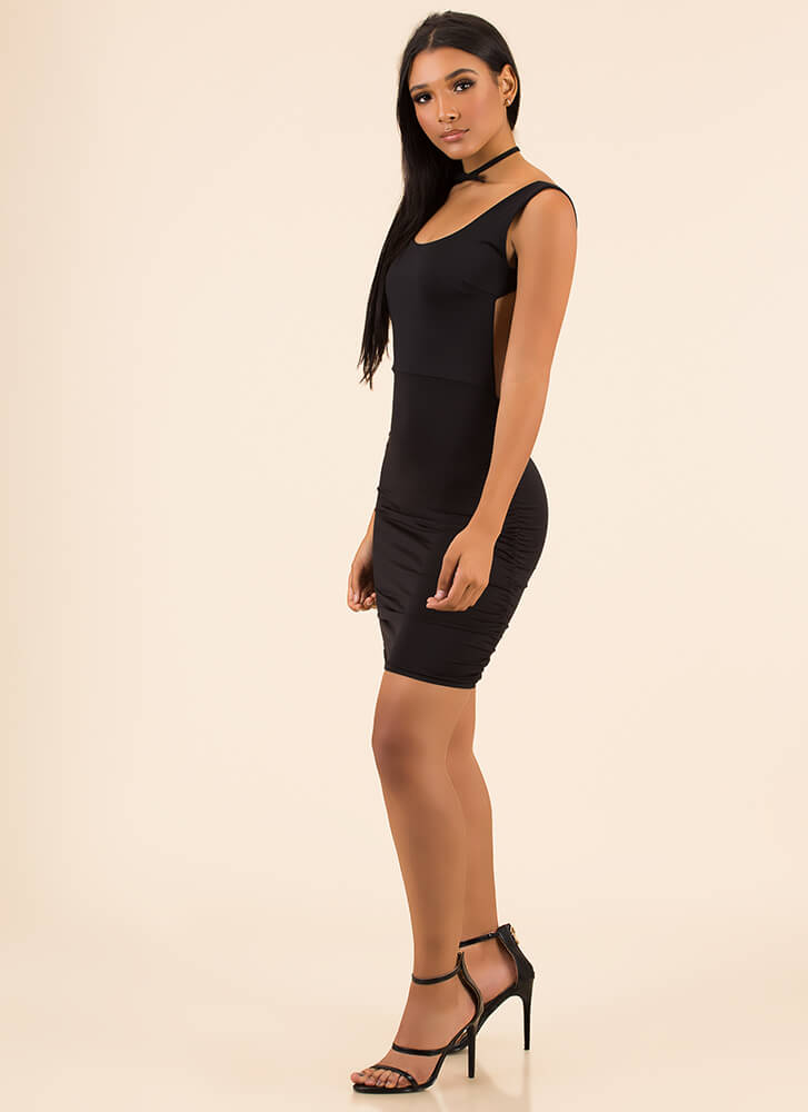 Out In The Open-Back Ruched Minidress BLACK