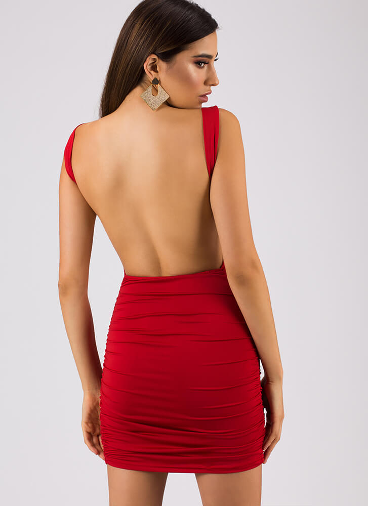 Out In The Open-Back Ruched Minidress RED