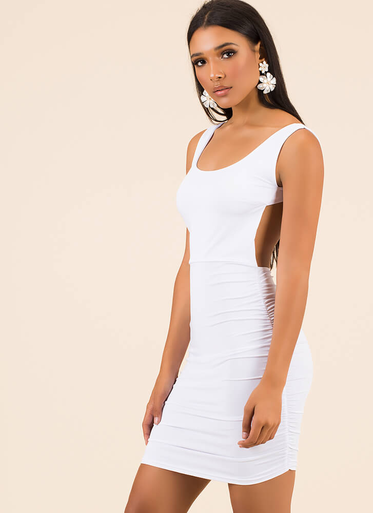 Out In The Open-Back Ruched Minidress WHITE