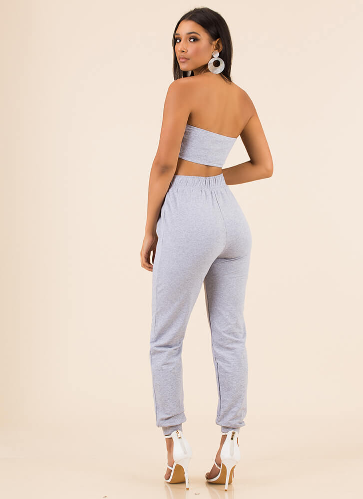 No Sweat Strapless Top And Jogger Set GREY