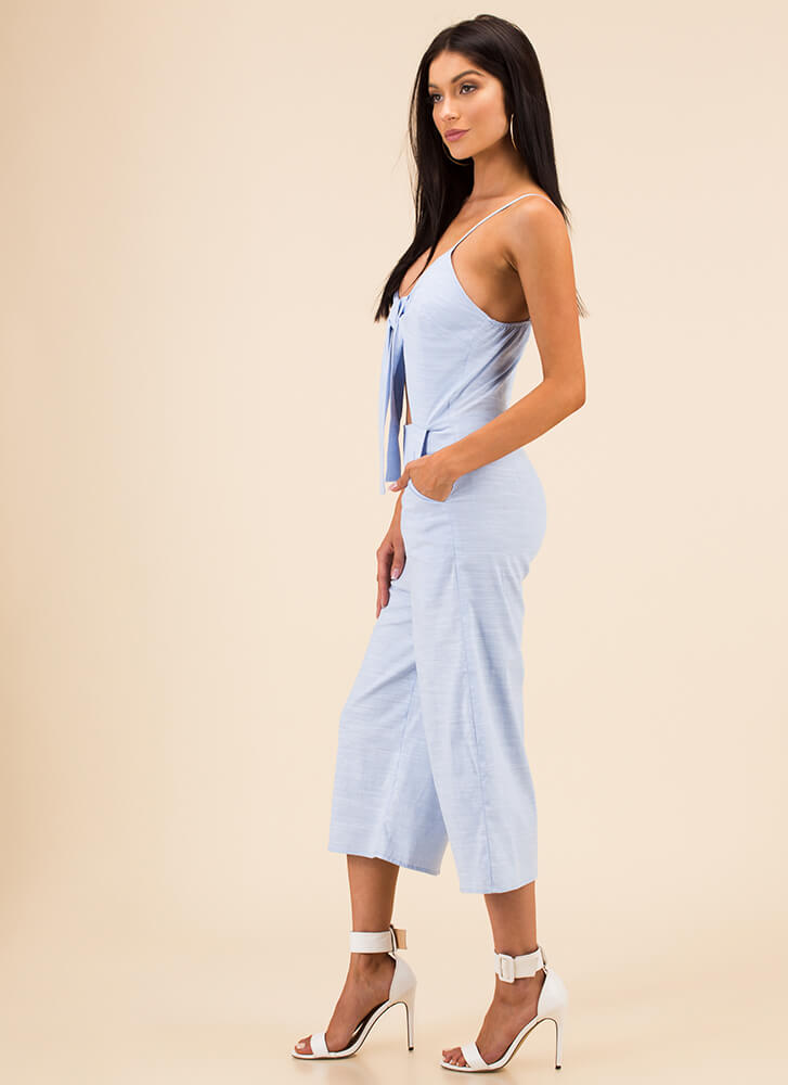 Tied Game Cropped Wide-Leg Jumpsuit BLUE