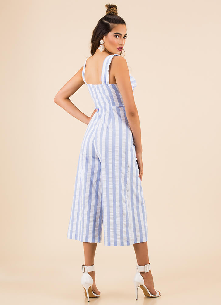 On Holiday Striped Cropped Jumpsuit LTBLUE