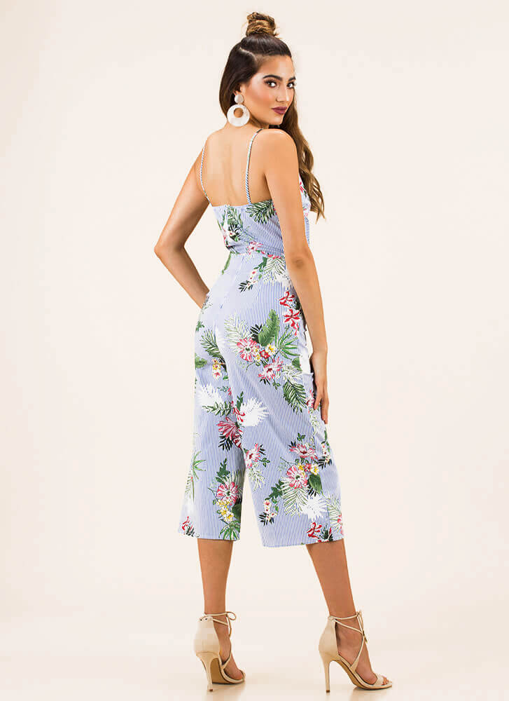 On Vacation Striped Floral Jumpsuit BLUE (You Saved $27)