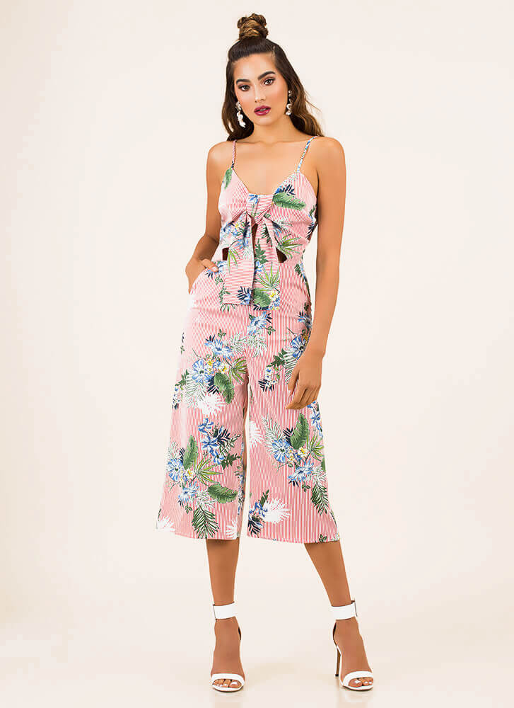On Vacation Striped Floral Jumpsuit ORANGE (You Saved $27)