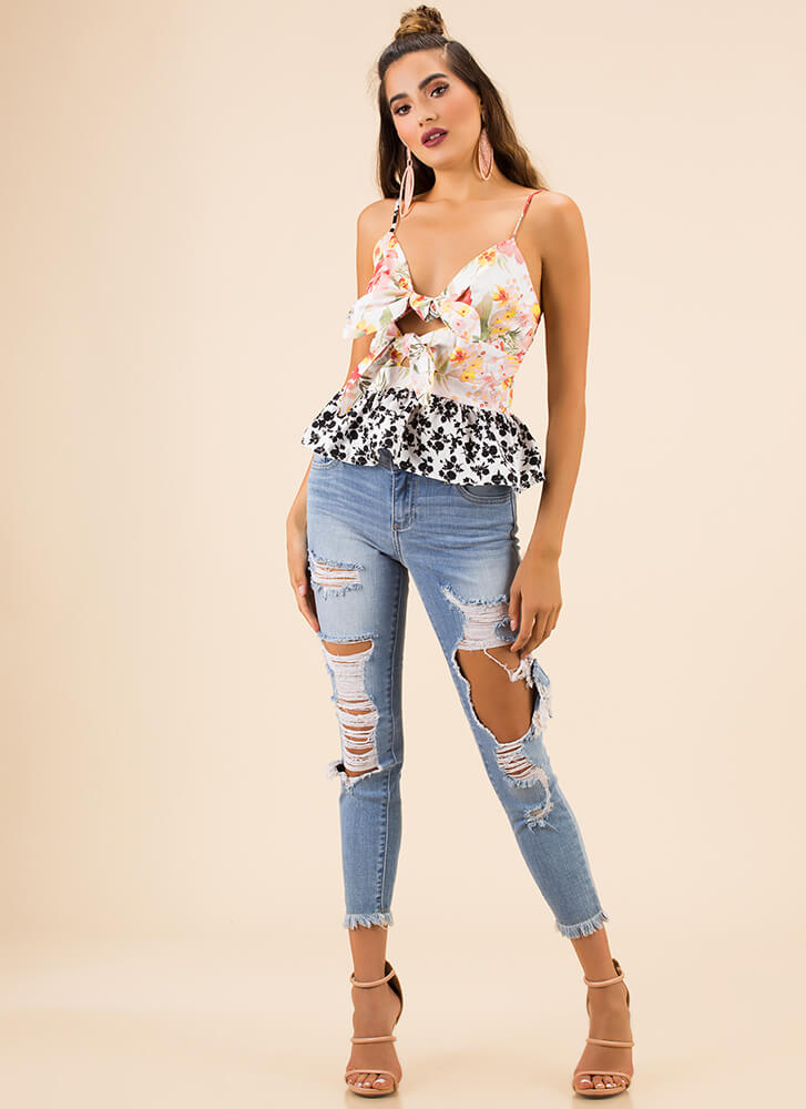 Two Kinds Knotted Floral Peplum Top PINKMULTI