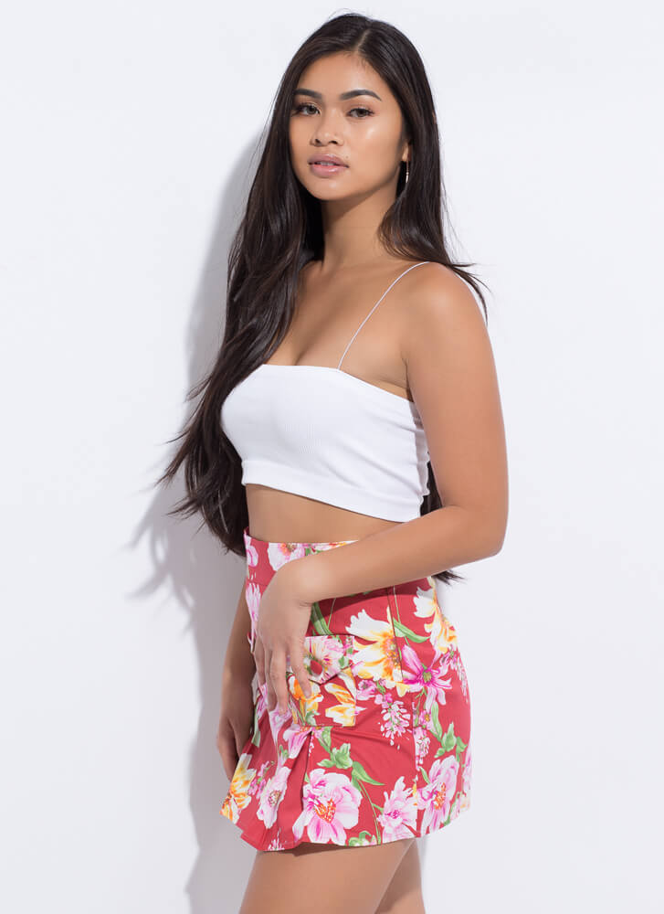 Floral Frolic Pleated Miniskirt RED