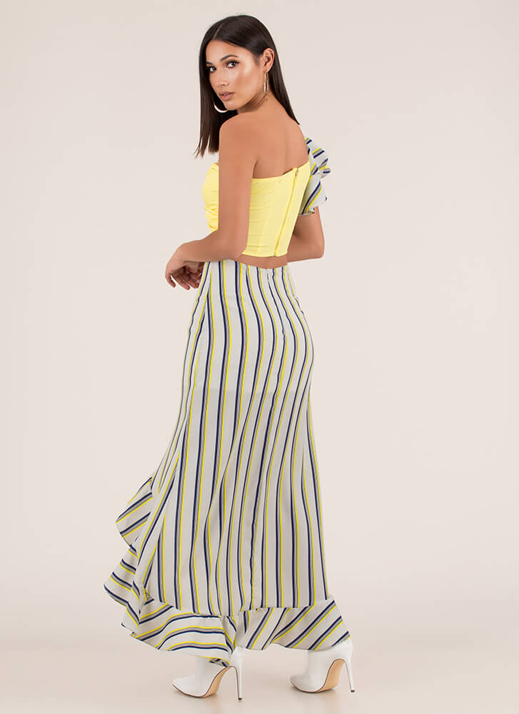 Unexpected Striped Top And Skirt Set YELLOW