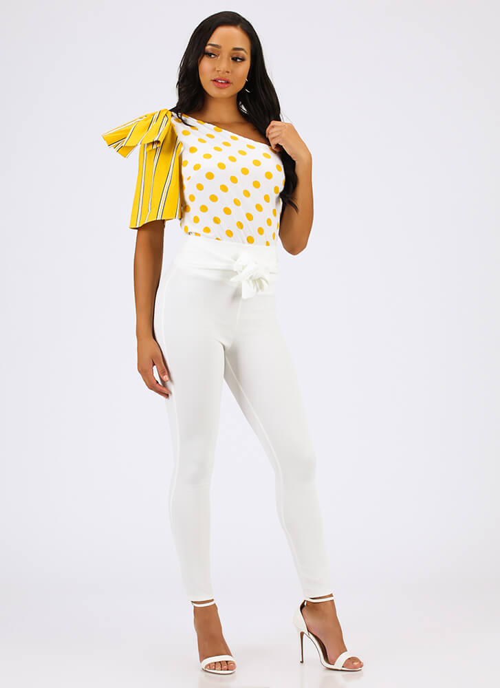 Circles And Stripes One-Shoulder Top YELLOW