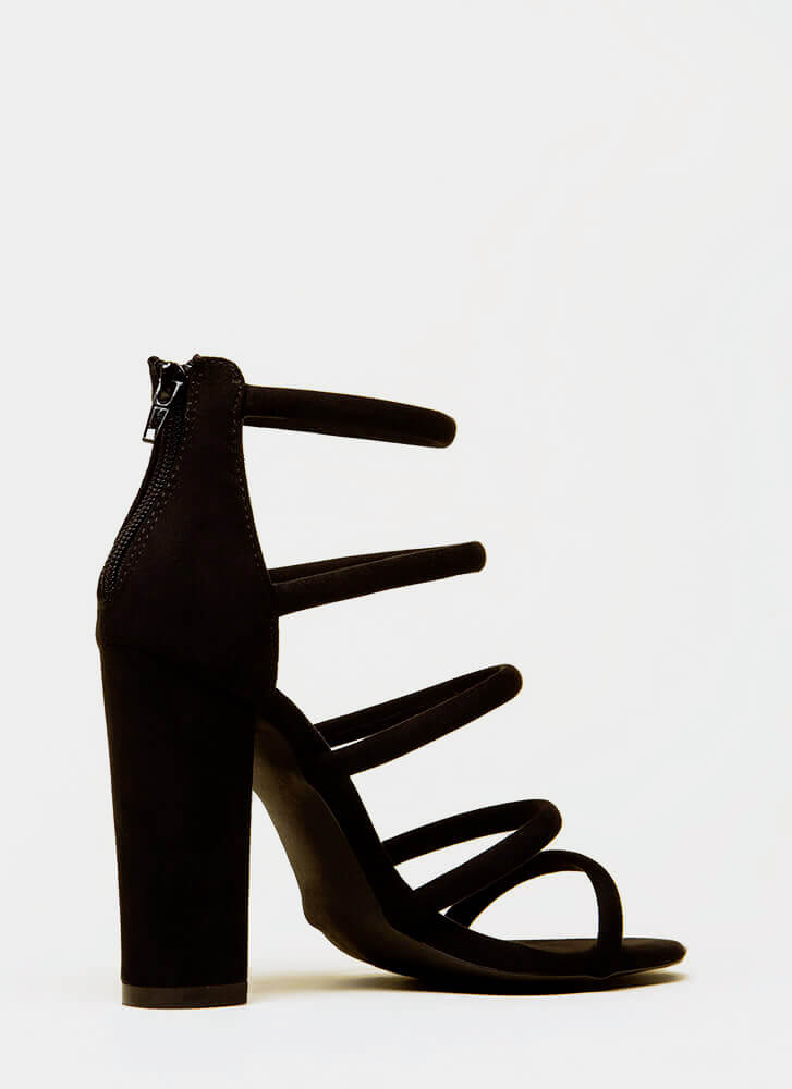 Five-Piece Band Strappy Chunky Heels BLACK