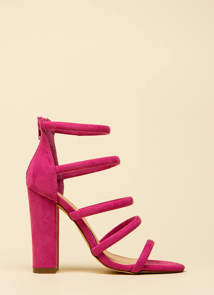 Five-Piece Band Strappy Chunky Heels FUCHSIA