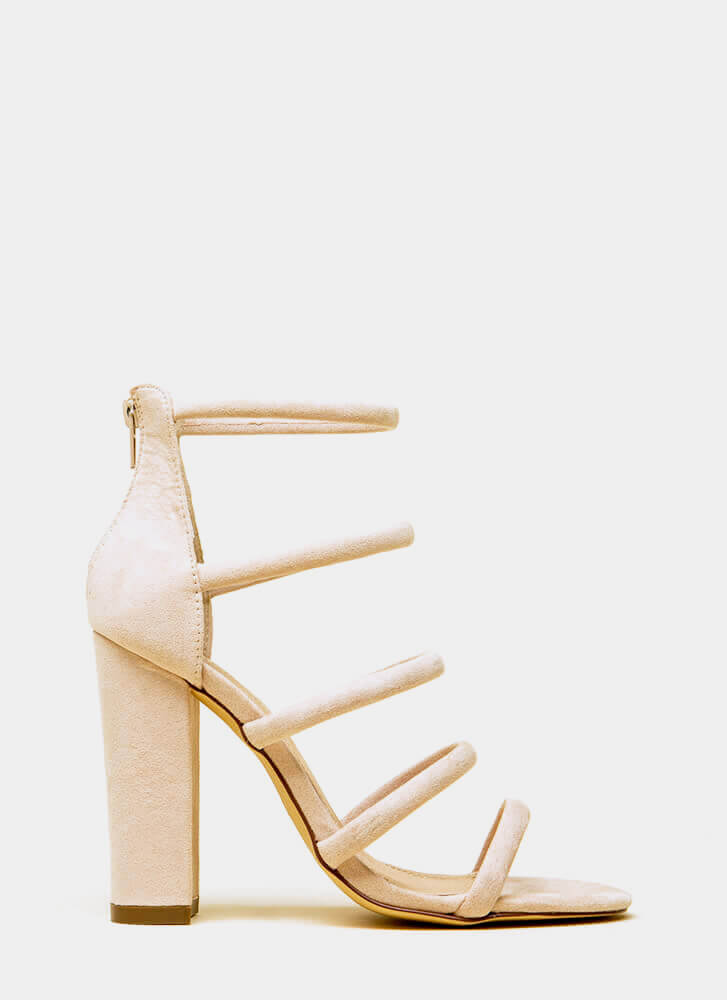 Five-Piece Band Strappy Chunky Heels NUDE