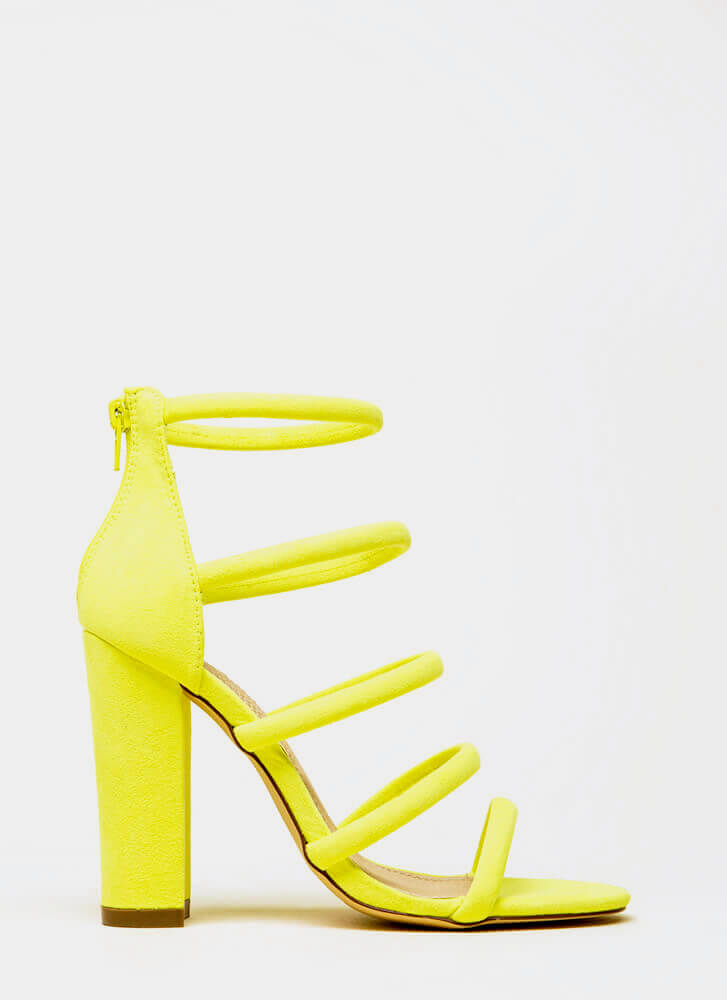 Five-Piece Band Strappy Chunky Heels YELLOW