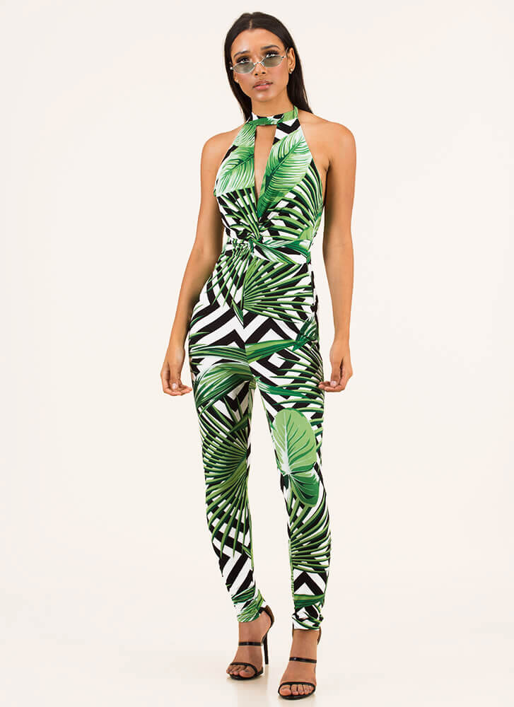 Tropical Re-Leaf Geometric Jumpsuit GREENWHITE